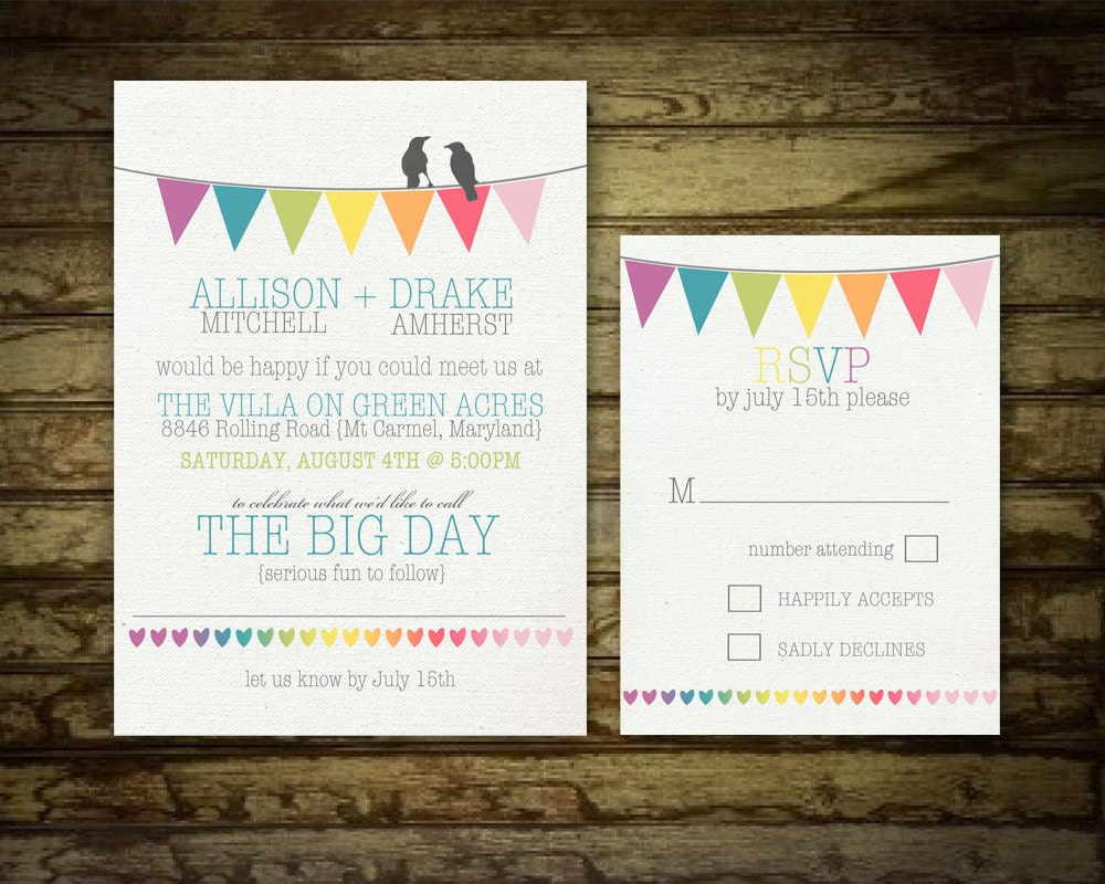 Bunting Wedding Invite: Rustic Wedding Invitation Set Bunting Flags And By