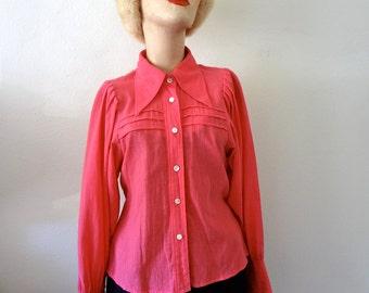 1970s Boho Blouse / Peasant Sleeve Shirt / hot pink cotton / designer vintage