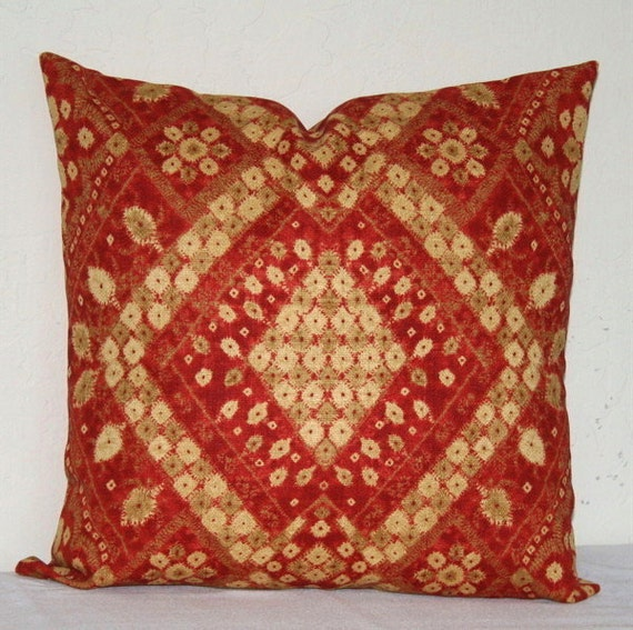 Red And Tan Decorative Pillows : Red and Tan Moroccan 18x18 inch Decorative Pillows by PatsTable