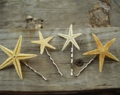 Starfish Hair Pins - A Set Of 4 Natural Starfish on Bobby Pins, Ideal for a Destination Wedding, Beach Wedding or Just A Day At The Beach
