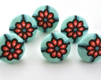 Tiny Thumbtacks / Magnets  / Push Pins /  Covered Button / Tacks / Coral Flowers Turquoise  - Crafty Flat Button - Sewing Button Fabric