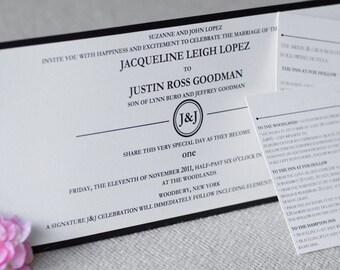 Black and White Wedding Invitation - Pocketfold Wedding Invite - Modern Invitation - Wedding Invitation Sample - Monogram Wedding Invite