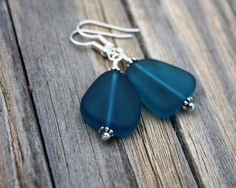 sea glass earrings sea glass jewelry seaglass jewelry teal