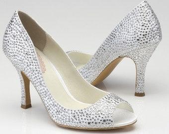 """Crystal Wedding Shoes- 3.25"""" High Heels"""