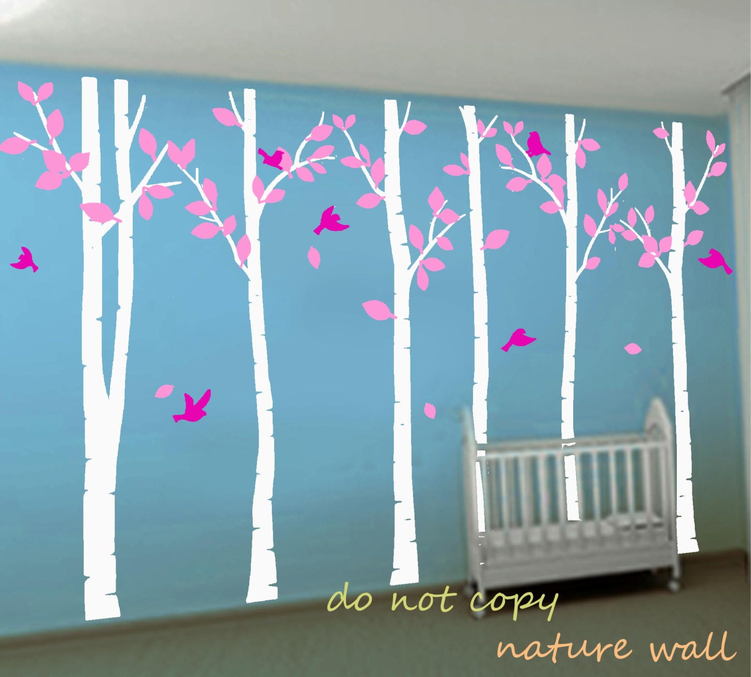 White tree decals kids baby nursery decals birch by naturewall for Baby nursery tree mural