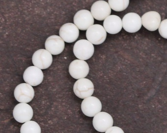 White Magnesite Beads - 4mm Round