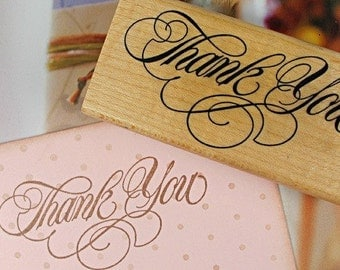 1Pcs Wooden Rubber Stamp - Vintage Style - Thank You