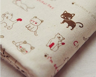 Cotton Linen Fabric Cloth -DIY Cloth Art Manual Cloth-Cute Cat 55x19Inches
