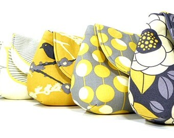 Bridesmaid Clutches Bridal Party Bags Wedding Clutch Choose Your Fabric Gray Yellow Set of 6