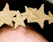 Gorgeous GOLD or custom color sparkle STAR CROWN headband pure glass glitter at least ten stars fits all ages