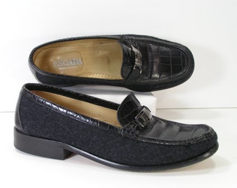 escada black dress shoes womens 7 m b loafers moccasins embossed crocodile euro 37.5
