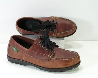 eastland boat shoes womens 6.5 m brown leather loafers casual flats euro 37
