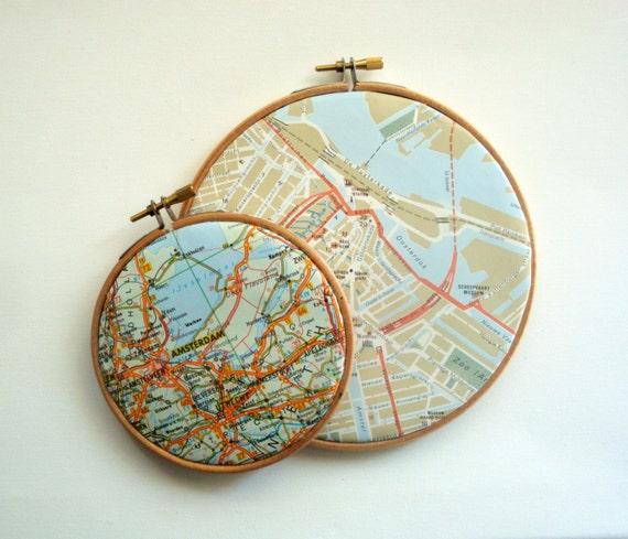 Amsterdam Map Art in Hoop