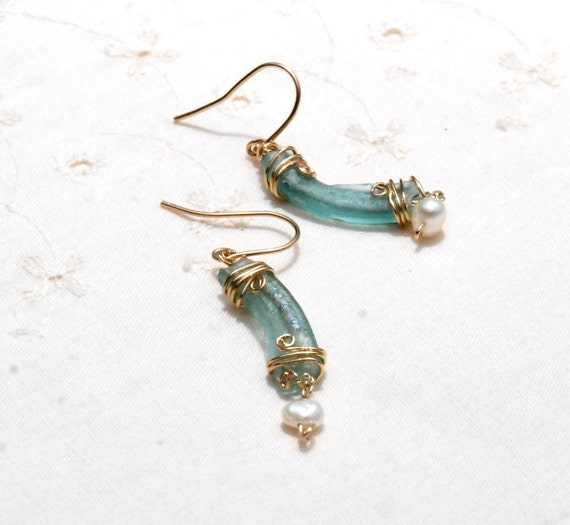 Aqua Roman Glass Pearl Long Gold Filled Earrings. Gold Filled Jewelry. Boucles D'oreilles Verre Romain. Roman Glass Jewelry. Free Shipping