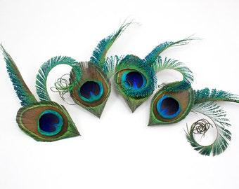 Bridesmaid clips set of 4 - Handsome -  Bridesmaid gift / Peacock fascinators
