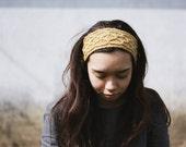 knit headband recycled TRELLIS- raw honey yellow