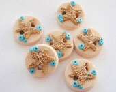 Button Sparkling Starfish handmade polymer clay buttons ( 6 )