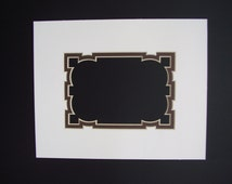 Picture Frame Mat White with Chocolate Brown liner mat 8x10 for 5x7 Photo or Art Custom Cut