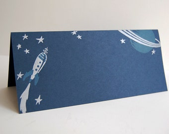 Outer Space Card: Rocket to Saturn - Letterpress Printed Folded Card in Blue and Silver
