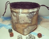 Dungeon Map Dice Bag Mk2, Brown Suede