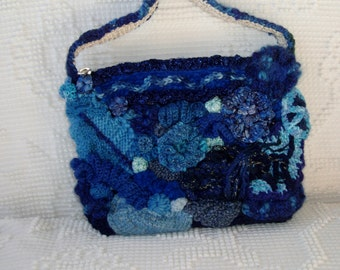 Elegant Freeform Knit and Crocheted Purse Shades of Blue, Wool, Novelty Yarns, OOAK