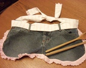 Upcycled denim jeans apron, pink eyelet and stripe