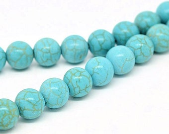 BULK 80 Turquoise Glass Beads 2 Strands 10mm - BD194
