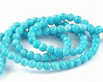 20 Mottle Glass Beads - Sky Blue and White 8mm - BD242