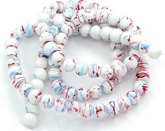 15 Mottled Multi Color Glass Beads 10mm BD263