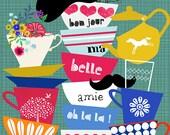 SPRING SALE - bon jour-limited edition art print