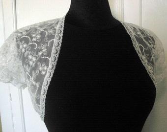 White or Black Soft Embroidered Lace Bolero