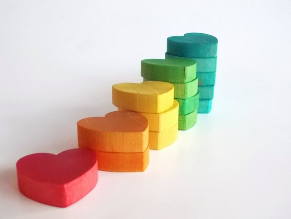 Valentines -Waldorf- Montessori- Educational- Wood Toy- COUNTING HEARTS-  Pretend Play- Food