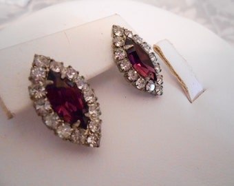 Vintage earrings, clear and amethyst color crystal earrings, bridal earrings, wedding earrings, stud earrings, vintage jewelry
