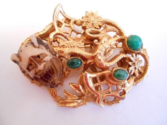 Vintage brooch, Chinese dragons, jade, and bone mask brooch, ornate and unique brooch, vintage jewelry