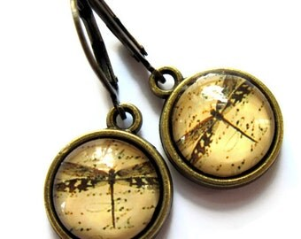 Sepia Dragonfly Earrings Vintage Insect Glass Jewelry