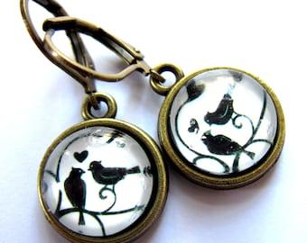 Love Bird Earrings Vintage Style Glass Retro Womens Fashion Jewelry
