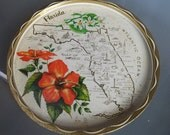 Metal Serving Tray Depicting Sunny Florida, Vintage Serving Travel, State of Florida Facts, Florida Tropical Flowers, Home Decor