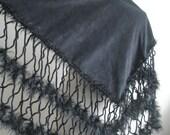 Black Shawl, Fashion, Black Triangle Shawl By Crochetlab,  Ready To Ship, Gift For Her, Gift For Mom