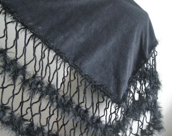 Black Shawl, Fashion, Black Triangle Shawl By Crochetlab,  Ready To Ship, Gift For Her, Gift For Mom