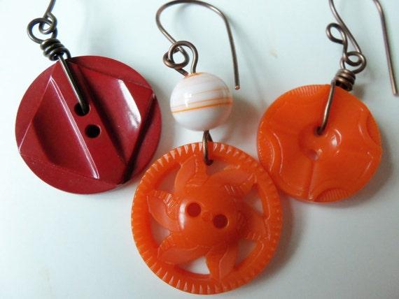 Vintage Button Earrings - Paprika Art Deco, Tangerine Pinwheel, Orange