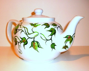Hand Painted Tea Pot  Ivy Leaves  Teapot Hand Painted 6 cup Teapot For Mother/  Made to order