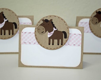 Cowgirl Birthday party - Food Labels or place cards, western theme, set of 6