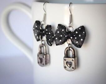 Locket Charm Secret Black and White Polka Dot Minimalist Earrings