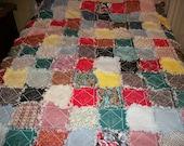Vintage rag style quilt 60 X 72