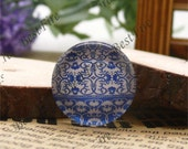The 12mm,14mm,16mm,18mm,20mm,25mm Round Glass Cabochons China flower,jewelry Cabochons finding beads,Glass Cabochons,blue-and-white--03