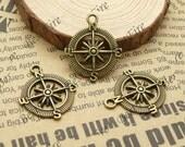 12 pcs of Antiqued brass metal Compass pendant ,charm pendant 25x30mm
