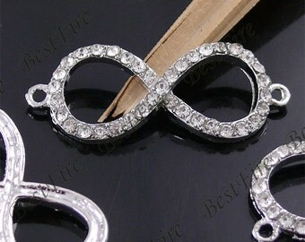 "2pcs of 17x42mm Platinum Tone White Rhinestone  ""8"" Connector, Infinity symbol,Bracelet Connector,bangle findings"