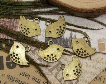 24PCS Of  12x16MM  Antique Bronze Lovely Bird Charm Pendant ,metal finding,pendant findings
