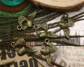 24pcs 12x20mm Antique Bronze small fish pendant jewelry findings  Charm Pendant ,metal finding