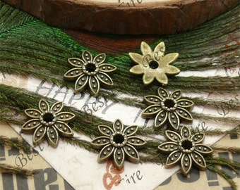 30 pcs of Antique brass metal flower bead cups 13mm,bead caps findings,loose beads findings